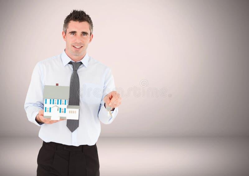Hombre que se sostiene dominante delante de la ilustración imagen de archivo libre de regalías
