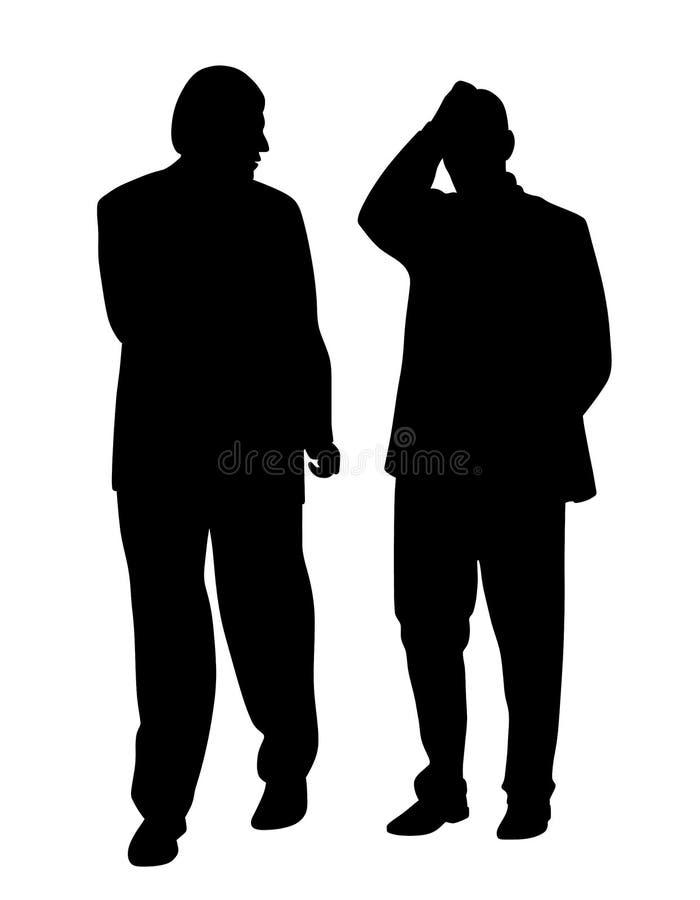 Hombre que se va detrás de su amigo o colega que tiene un problema ilustración del vector