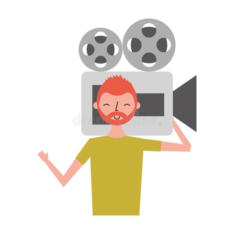 Hombre que sostiene la videocámara de la película ilustración del vector
