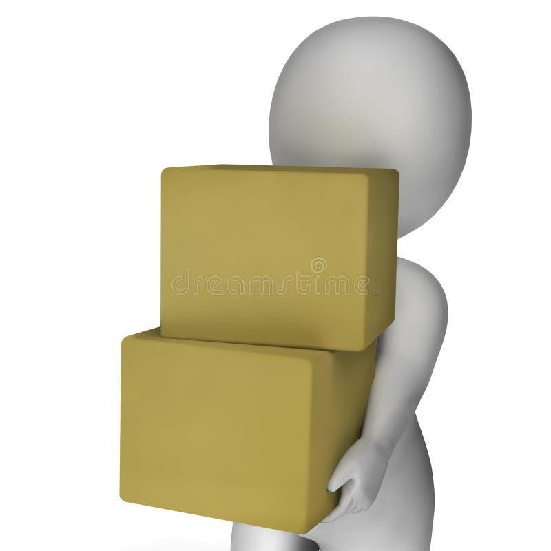 Hombre que sostiene las cajas que muestran entrega y que llevan los paquetes