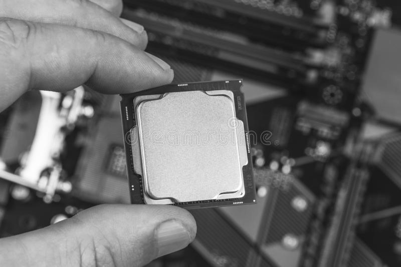 Hombre que sostiene los fingeres falsos encima de la 8va GEN del procesador de escritorio en la opinión de top del primer de la p fotos de archivo