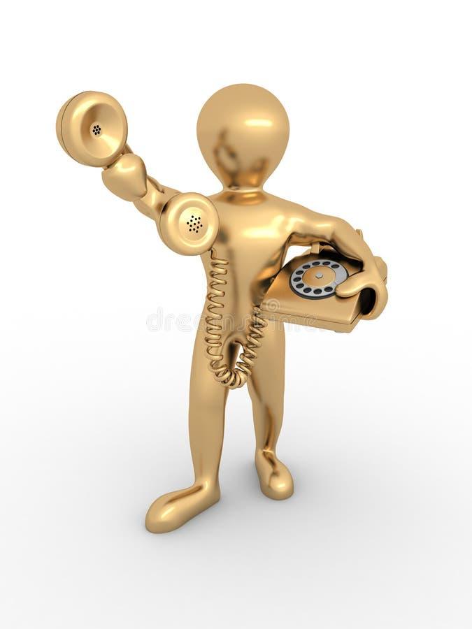 Hombre que sostiene un receptor de teléfono ilustración del vector