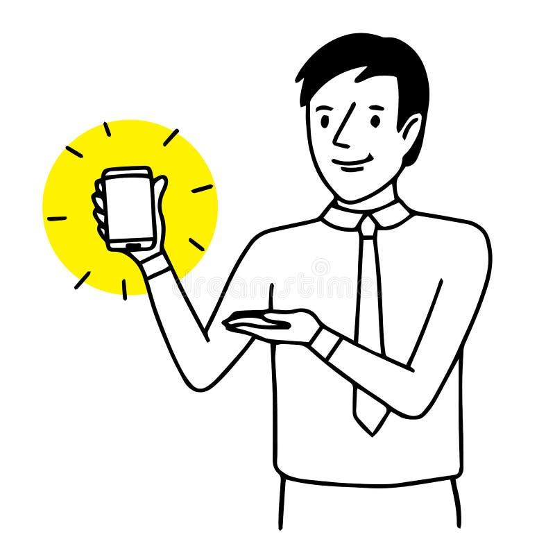 Hombre que sostiene y que muestra un smartphone Ejemplo de la situación Dibujo aislado vector stock de ilustración