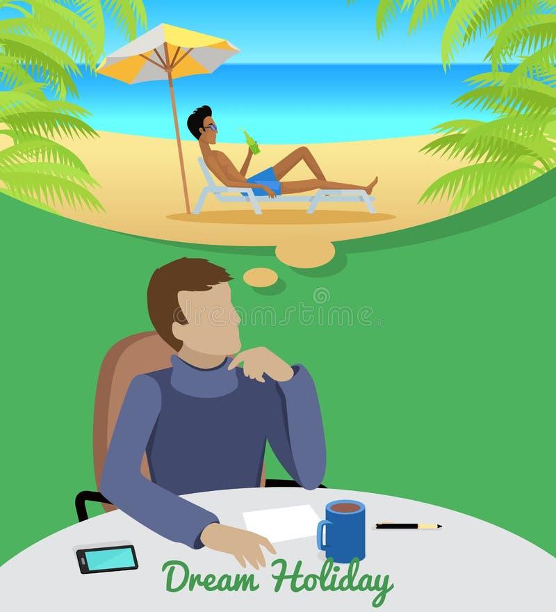 Hombre que sueña sobre vacaciones en la playa stock de ilustración