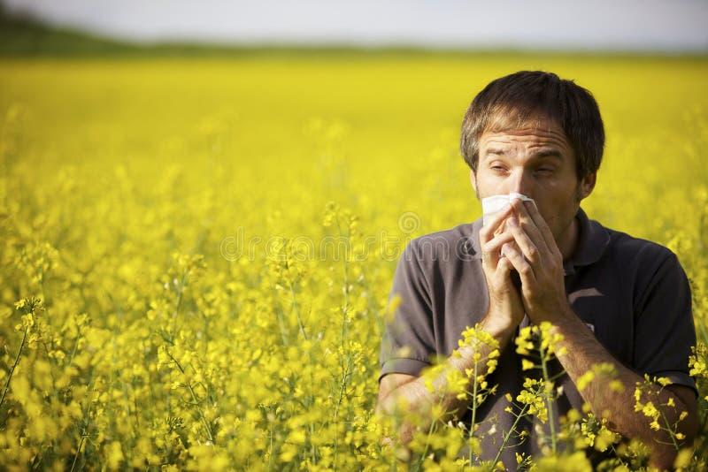 Hombre que sufre de alergia del polen imagen de archivo