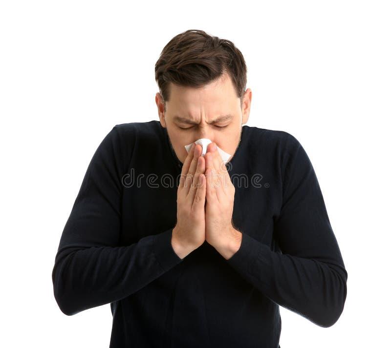 Hombre que sufre de frío fotografía de archivo