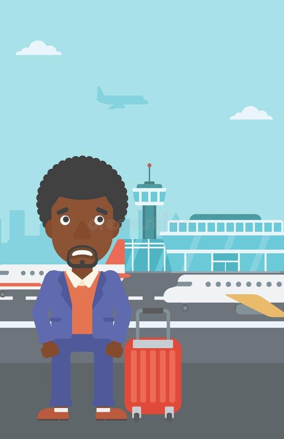 Hombre que sufre del miedo del vuelo ilustración del vector