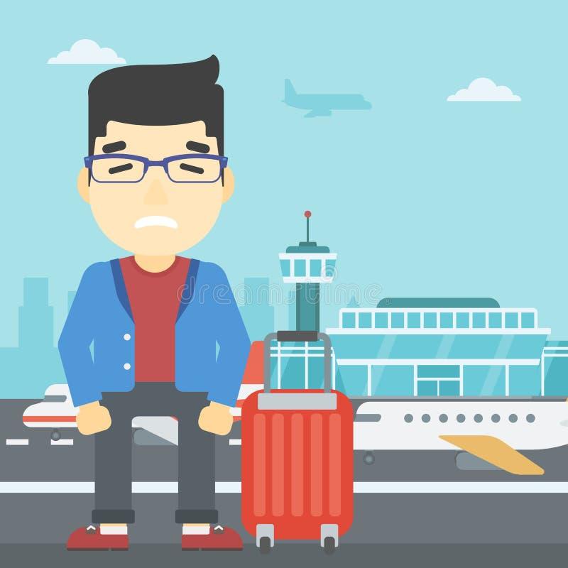 Hombre que sufre del miedo del vuelo libre illustration