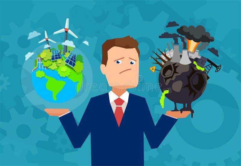 Hombre que tiene dilema con clima del planeta ilustración del vector