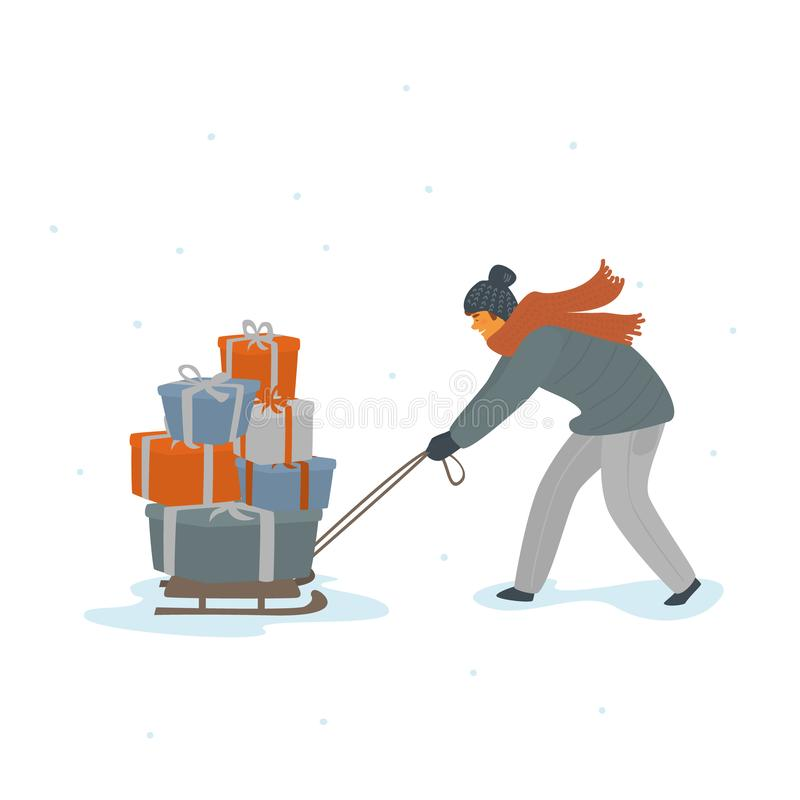 Hombre que tira del trineo por completo del ejemplo aislado regalos de Navidad del vector de las cajas de regalo ilustración del vector