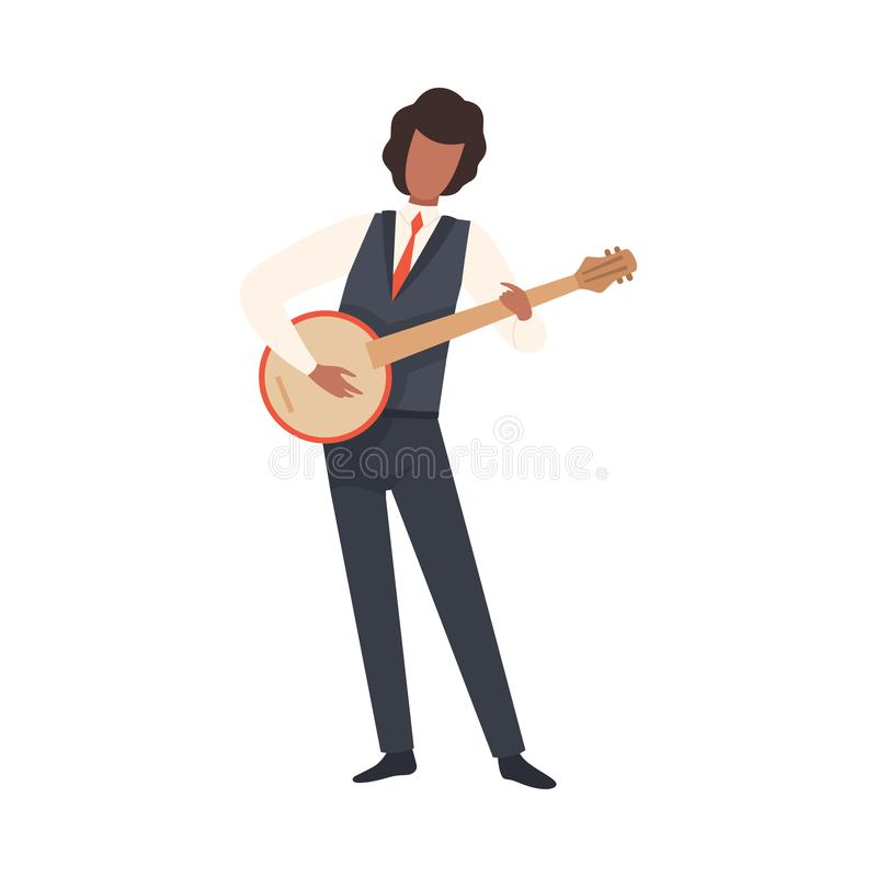 Hombre que toca el banjo, varón Jazz Musician Character en traje elegante con el ejemplo del vector del instrumento musical ilustración del vector
