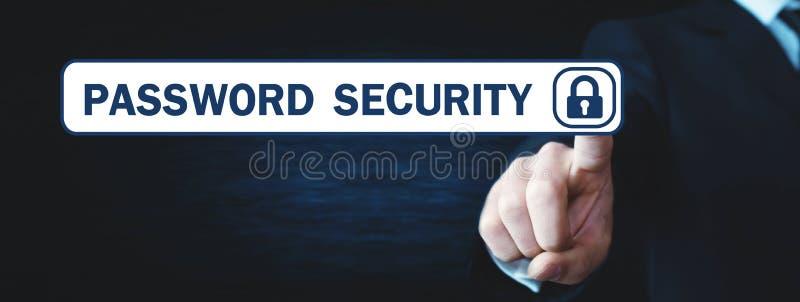 Hombre que toca el botón de la seguridad de la contraseña fotos de archivo libres de regalías