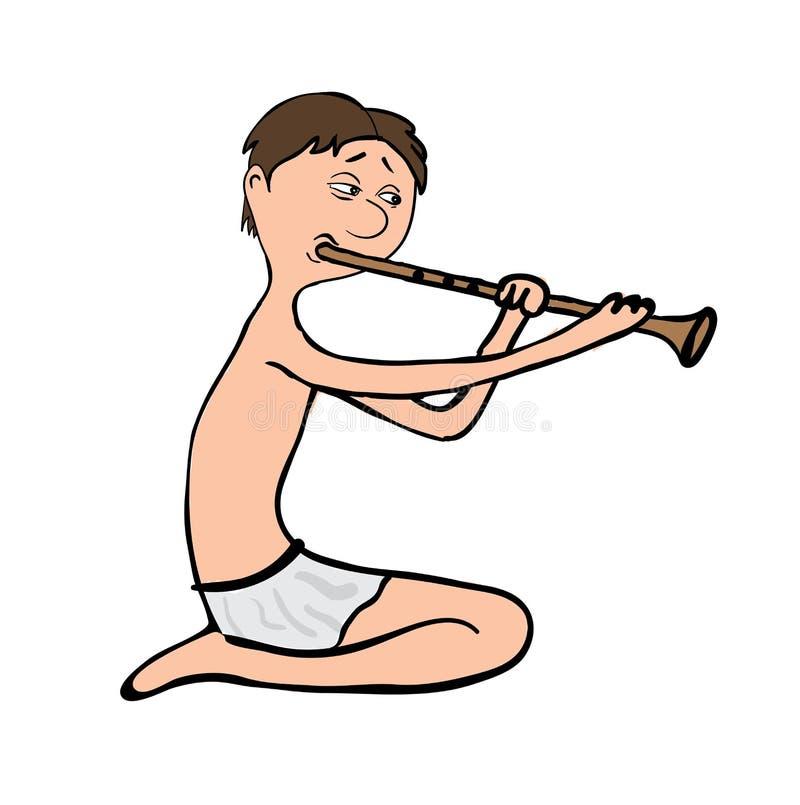 Hombre que toca la flauta, ejemplo del vector stock de ilustración