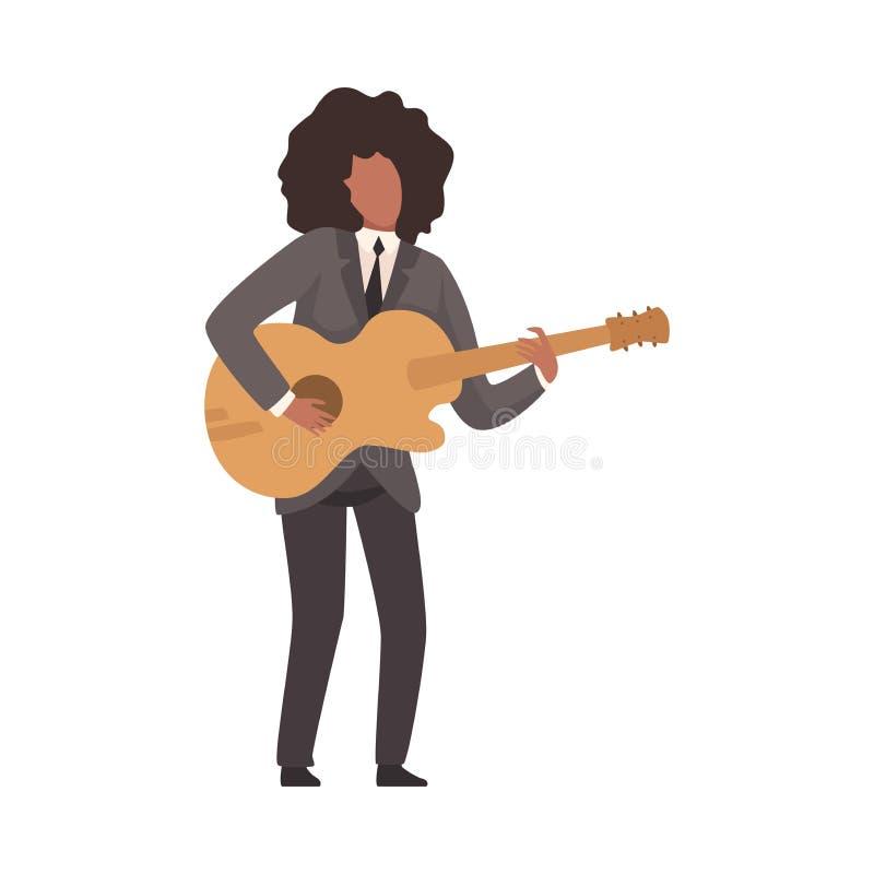 Hombre que toca la guitarra, afroamericano masculino Jazz Musician Character en traje elegante con vector del instrumento musical libre illustration