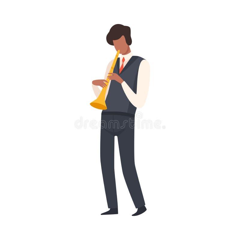 Hombre que toca la trompeta, varón Jazz Musician Character en traje elegante con el ejemplo del vector del instrumento musical ilustración del vector