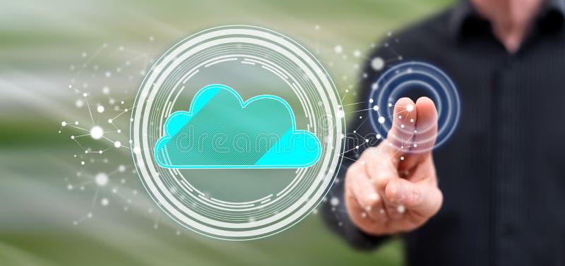 Hombre que toca un concepto del establecimiento de una red de la nube imágenes de archivo libres de regalías