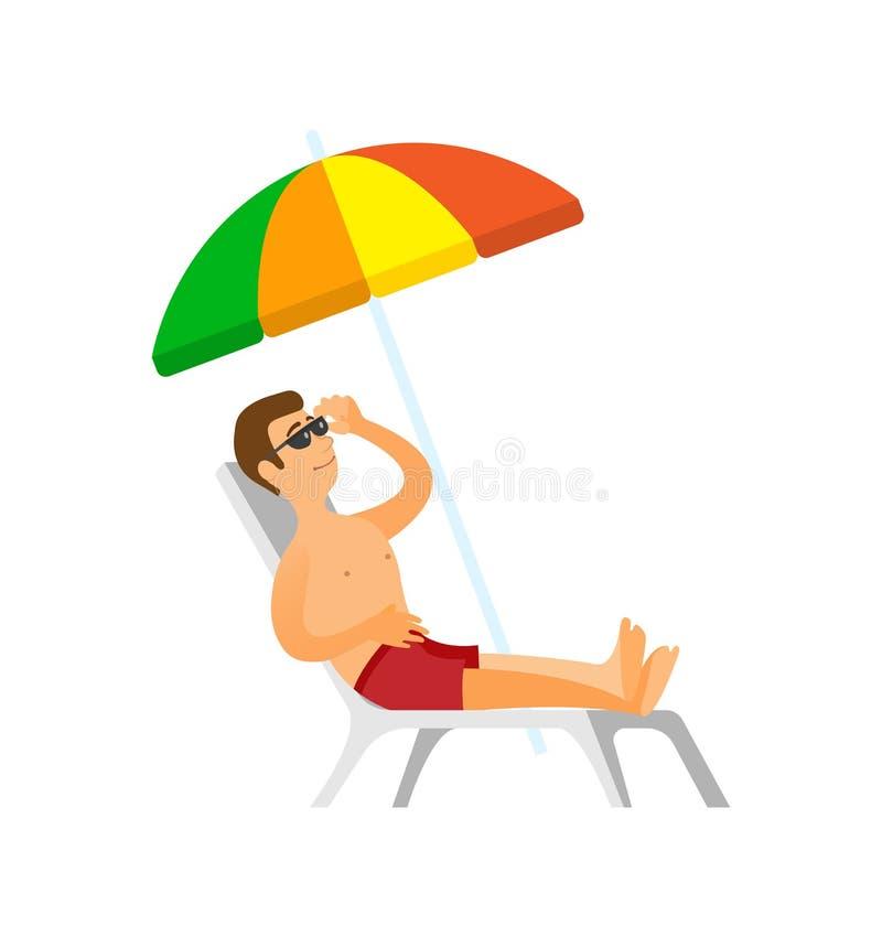 Hombre que toma el sol, varón el vacaciones de verano de los días de fiesta libre illustration