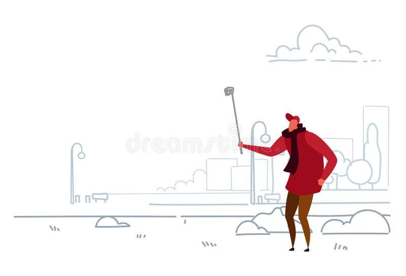 Hombre que toma la foto del selfie en garabato casual del bosquejo del palillo del uno mismo de la tenencia del individuo del tel libre illustration