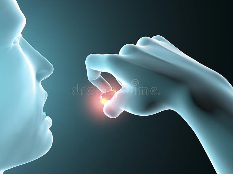Hombre que toma una píldora, tableta ilustración del vector