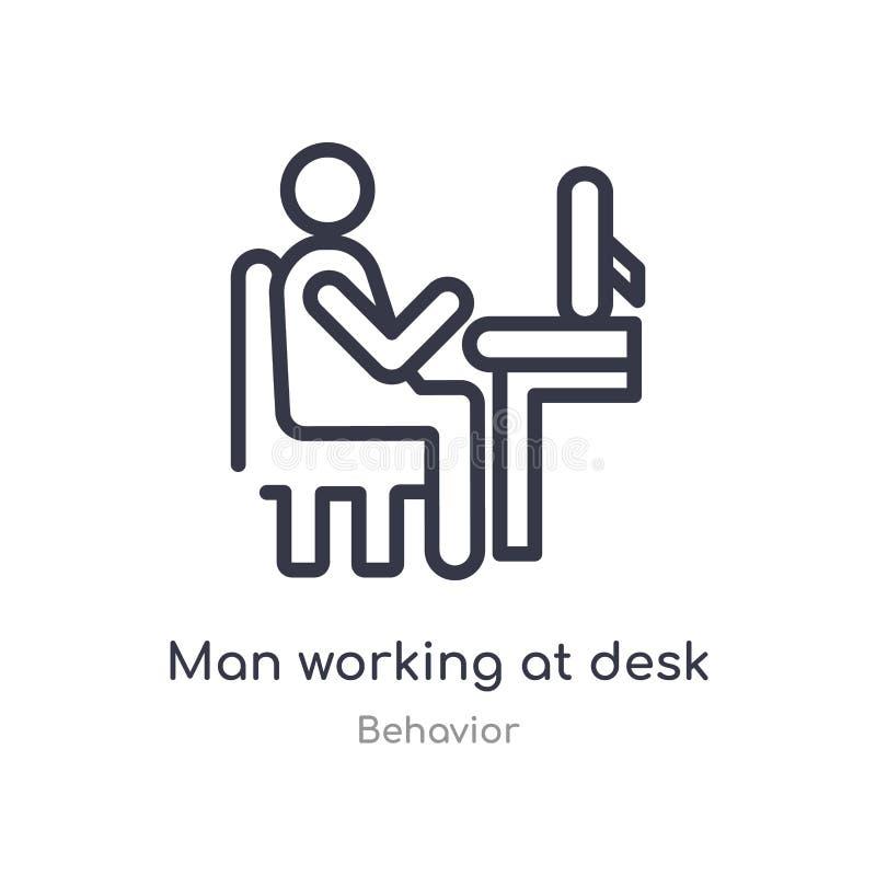 hombre que trabaja en el icono del esquema del escritorio l?nea aislada ejemplo del vector de la colecci?n del comportamiento hom ilustración del vector