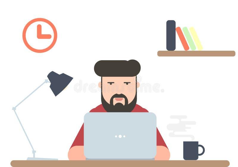 Hombre que trabaja en el ordenador portátil libre illustration