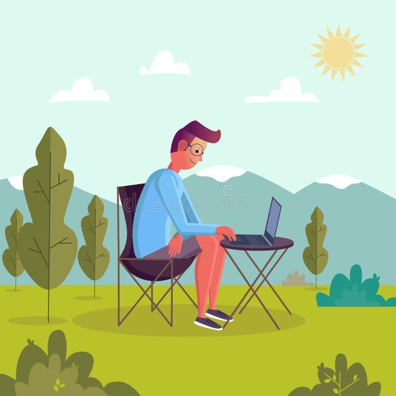Hombre que trabaja en el ordenador port?til en el parque Personaje de dibujos animados plano que se sienta detr?s de un ordenador libre illustration