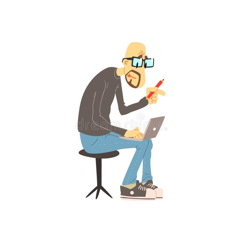 Hombre que trabaja en su Lap Top stock de ilustración