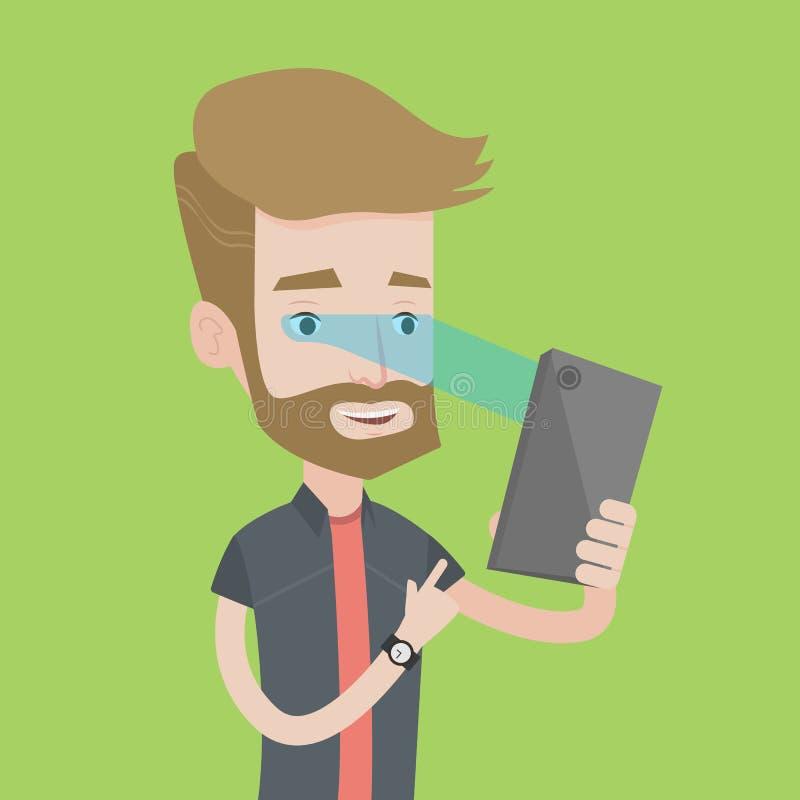 Hombre que usa el escáner del iris para desbloquear su teléfono móvil stock de ilustración