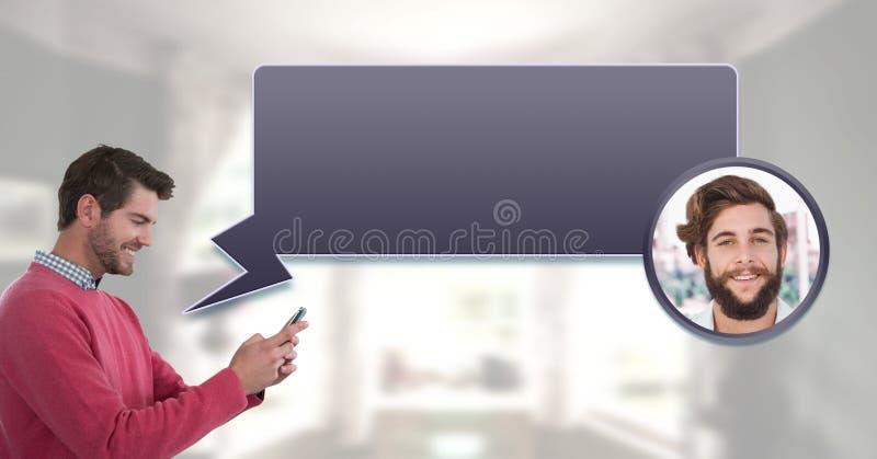 Hombre que usa el teléfono con perfil de la mensajería de la burbuja de la charla fotos de archivo libres de regalías