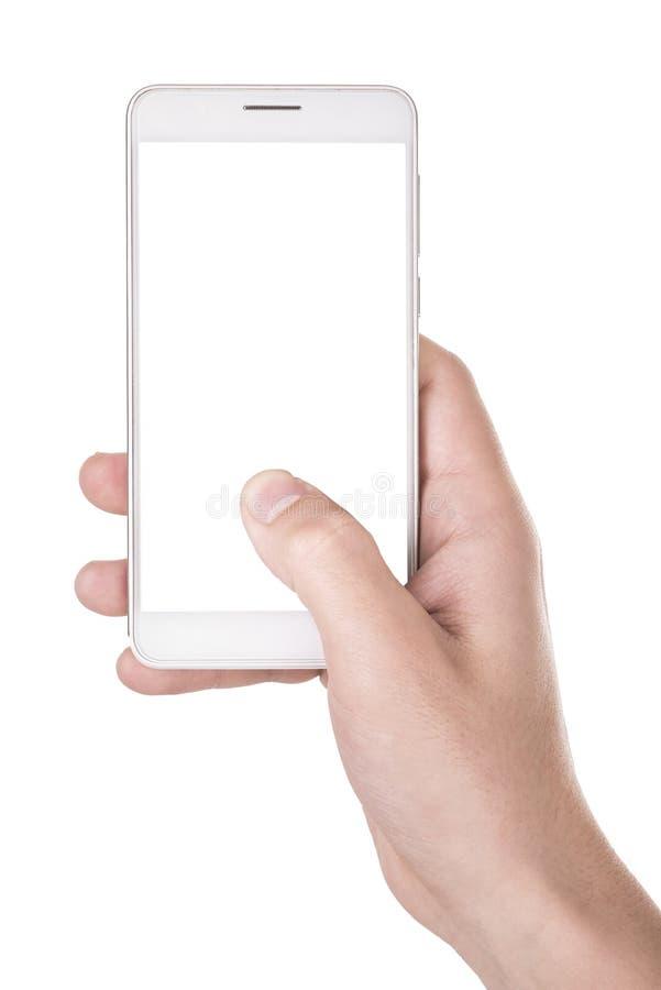 Hombre que usa el teléfono elegante moderno aislado en blanco foto de archivo