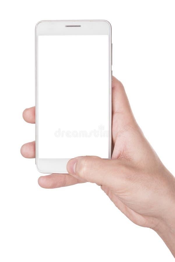 Hombre que usa el teléfono elegante moderno aislado en blanco foto de archivo libre de regalías