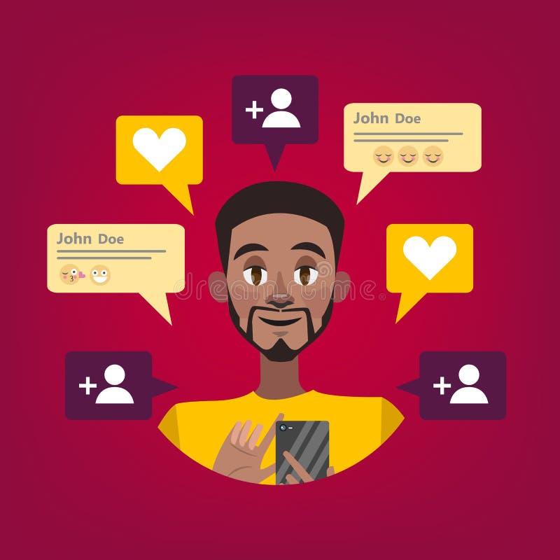 Hombre que usa el teléfono móvil La adolescencia comunica con los amigos ilustración del vector