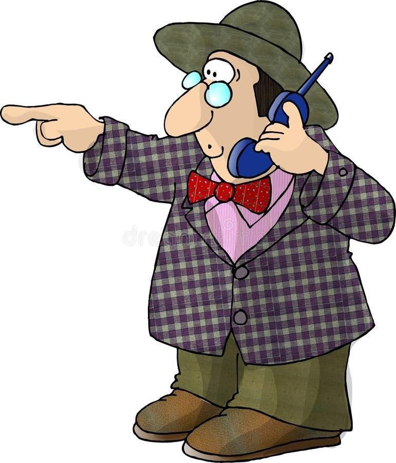 Hombre que usa un teléfono sin cuerda stock de ilustración
