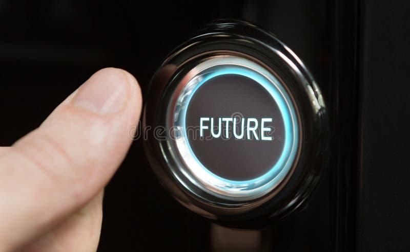 Hombre que va al botón con futuro del texto ilustración del vector