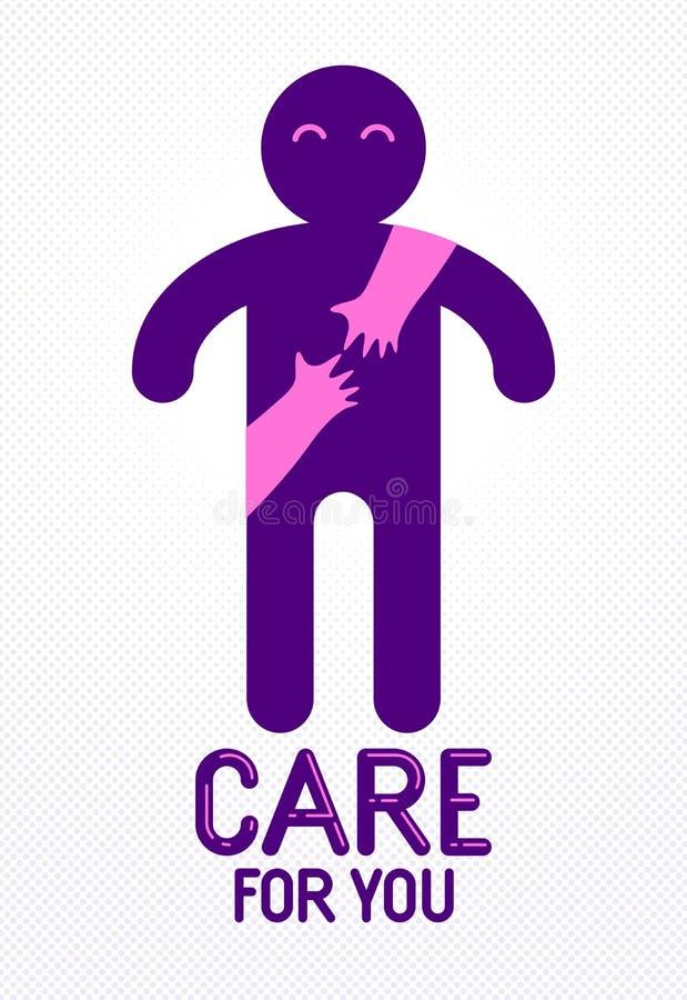 Hombre querido con las manos del cuidado de una mujer del amante que lo abraza alrededor de detr?s logotipo, del vector del icono libre illustration