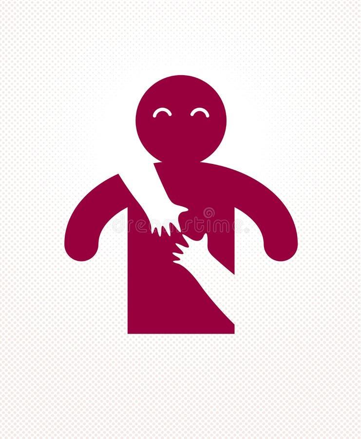 Hombre querido con las manos del cuidado de una mujer del amante que lo abraza alrededor de detr?s logotipo, del vector del icono ilustración del vector