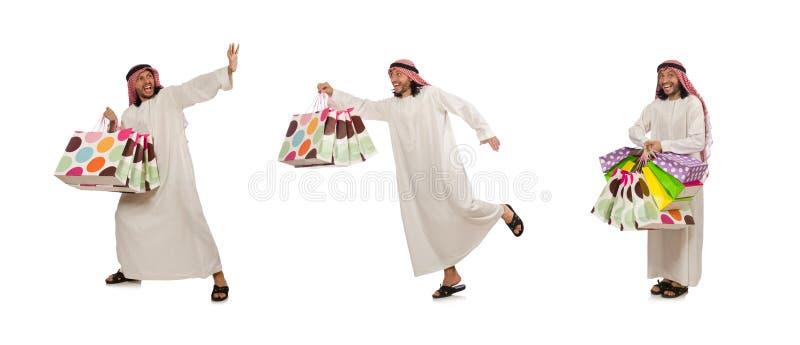 Hombre ?rabe con los panieres en blanco fotografía de archivo libre de regalías