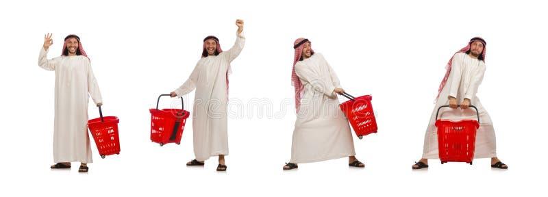Hombre ?rabe que hace las compras aisladas en blanco imágenes de archivo libres de regalías