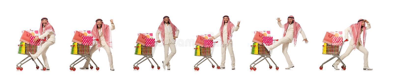 Hombre ?rabe que hace las compras aisladas en blanco fotos de archivo libres de regalías