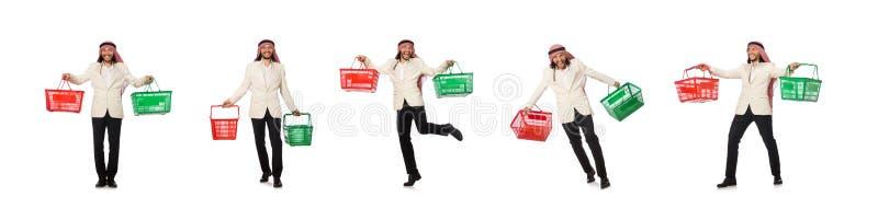 Hombre ?rabe que hace las compras aisladas en blanco fotografía de archivo libre de regalías