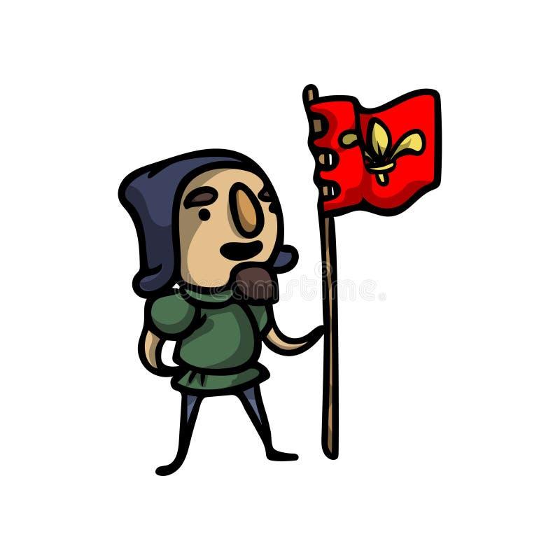 Hombre real medieval del castillo que lleva la bandera roja ilustración del vector