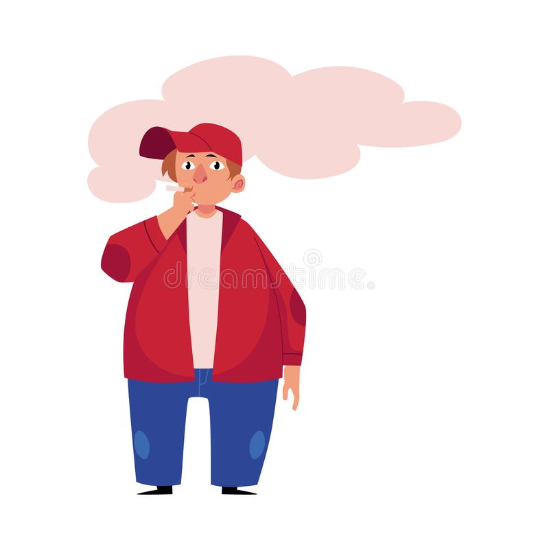 Hombre regordete, gordo, obeso joven que fuma un cigarrillo ilustración del vector