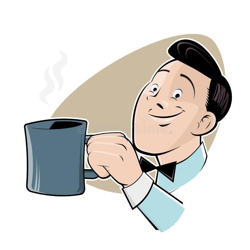 Hombre retro de la historieta con una taza de café stock de ilustración