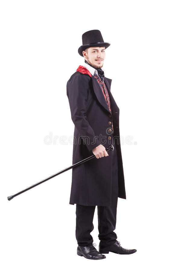 Hombre retro de la moda con la barba que lleva el traje negro fotos de archivo