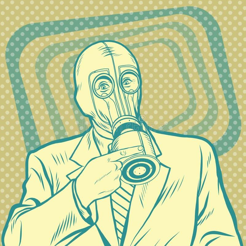 Hombre retro del arte pop en careta antigás que señala de lado stock de ilustración