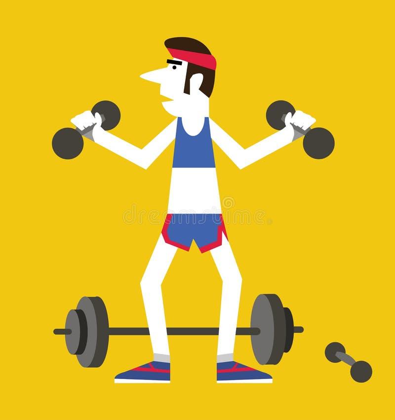 Hombre retro que lleva a cabo pesas de gimnasia y posiciones en cuclillas stock de ilustración