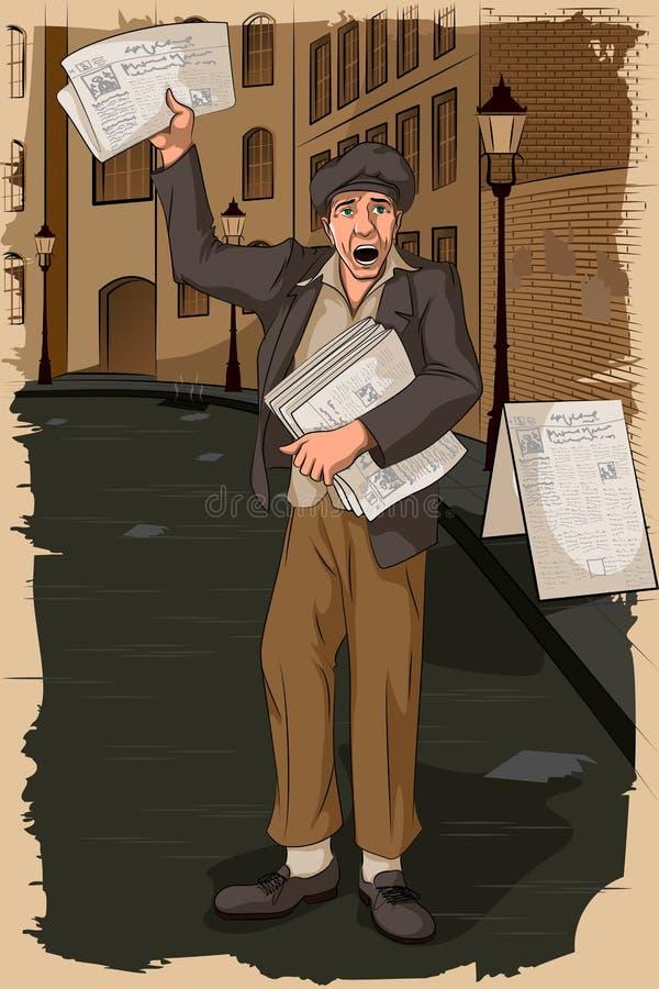 Hombre retro que vende el periódico stock de ilustración