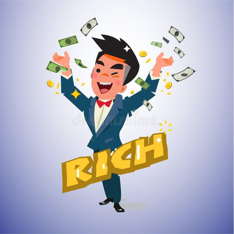 Hombre rico con el billete de banco diseño de carácter del hombre del dinero - vector stock de ilustración