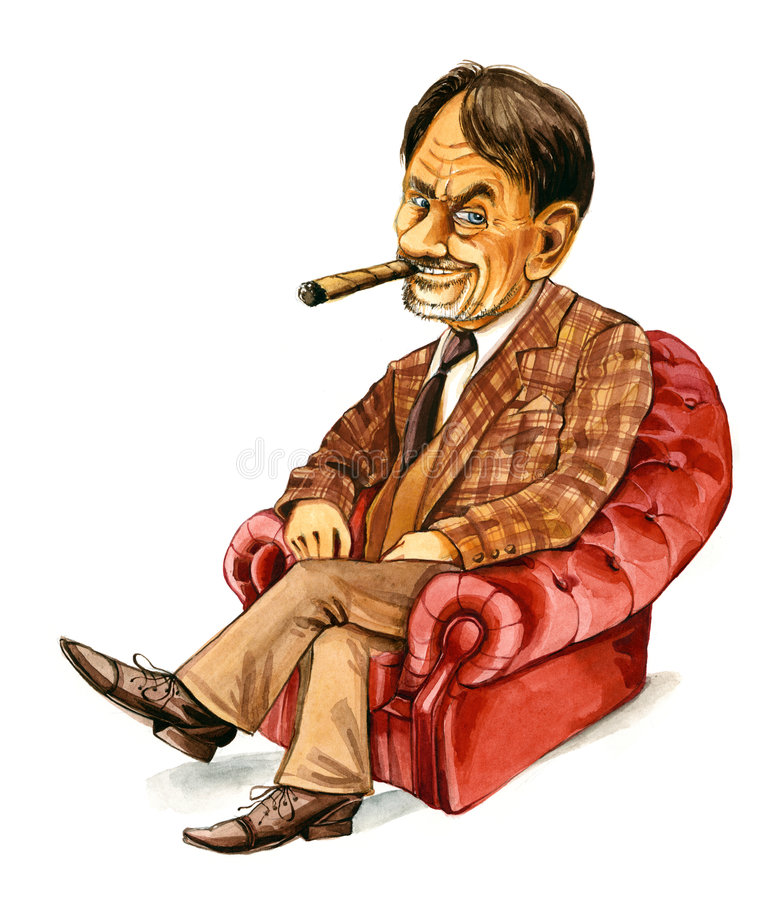 Hombre rico en butaca stock de ilustración