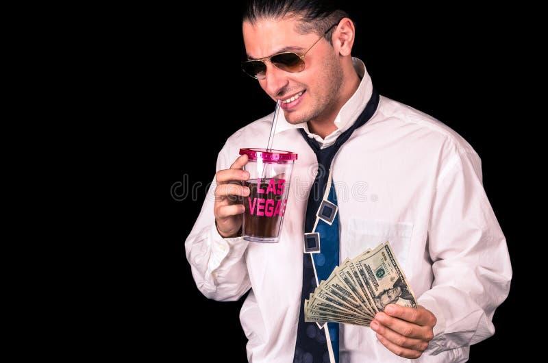 Hombre rico hermoso joven en Las Vegas fotografía de archivo